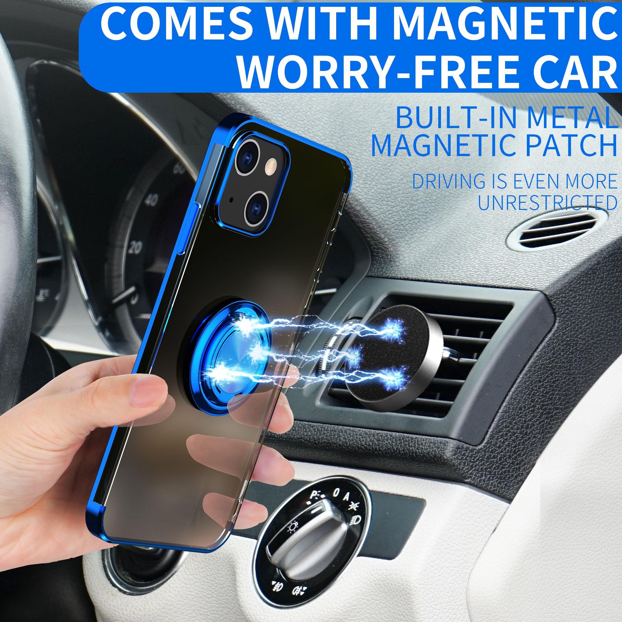 Adecuado para apple iphone13 móvil Caso 13 ProMax/ Mini galvanizado cubierta protectora transparente anillo magnético hebilla de silicona