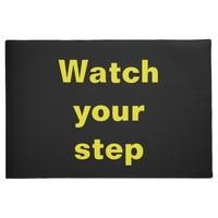 Watch Your Step Entrance Non-Slip Indoor Rubber Door Mats for Front