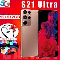 Smart Telefon S21 + Ultra Ursprüngliche Globale Version Telefon MTK6889 10Core-Chip Prozessor 6,7 Inch 16G + 512G 32 + 50 MEGAPIXEL Android11Cellphone