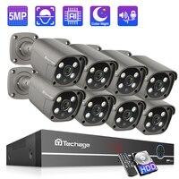 Techage 8CH 5MP Sicherheit Kamera System CCTV Video Überwachung Kit Outdoor IP Kamera POE NVR AI Menschliches Erkannt Zwei-weg Audio P2P