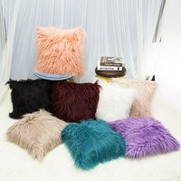 1PC Nordic Posh Style Pillowcase Home Decor Super Soft Plush Mongolian Faux Fur Throw Pillow Cover Cushion Case 18 Colors