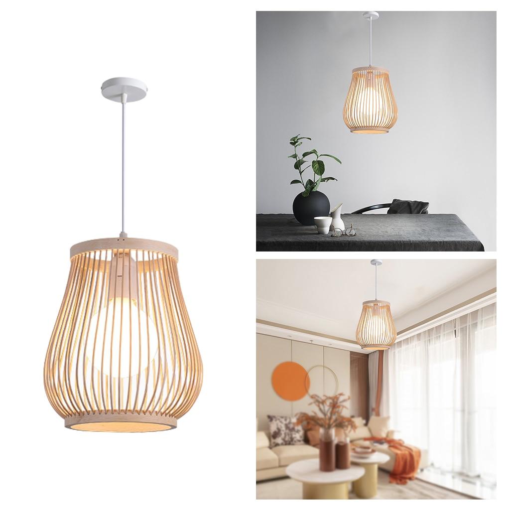 Bambus Anhänger Licht Schatten Leuchten Beleuchtung E27 Laterne Anhänger Lampe Hängen Dekorative Küche Insel Esszimmer