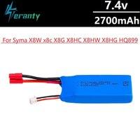 Bateria recarregável para quadricóptero syma x8w x8c, x8g, x8hc, x8hw, x8hg, hq899, t70cw, 7.4v, 2700mah, atualizada, 7.4v