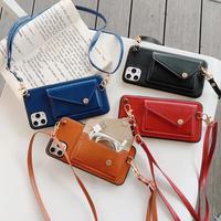 革カード財布ケースiphone 11プロマックスxsmax 7 8プラスse 2020 6 6 s-plusネックレスチェーンストラップにハング電話ケース