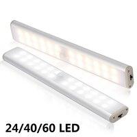 Czujnik ruchu LED lampka do szafy 6 10 24 40 60 LEDs oświetlenie podszafkowe magnetyczna lampka nocna do kuchni schody szafa szafka