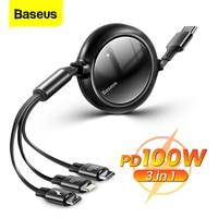 Baseus 100W USB C Kabel Für iPhone 12 Pro Xiaomi Micro USB 3 in 1 Typ C Schnelle Lade für Samsung Huawei Versenkbare Datenkabel