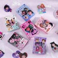 Dimi 50 Teile/schachtel Spielerische Grils Nette Anime Mädchen Boxed Aufkleber Tagebuch Album Dekoration Etiketten Kawaii Japanischen Cartoon Aufkleber