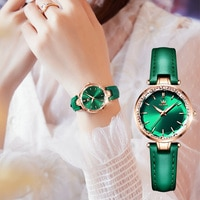 OLEVS NEW Japan Lmported Movement Green Dial Genuine Leather Strap Elegant Temperament Quartz Wrist Watch Bracelet Necklace Set