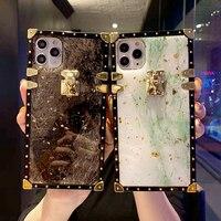 高級ブリンブリンゴールド箔大理石正方形電話ケースiphone 12 11 7 8プラスx xr xs最大ソフトcapa三星S10 20注9