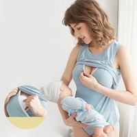 Maternity Breasfeeding Clothes Bra Cotton Pajamas For Pregnant Women Nursing Homewear Solid Pregnancy Sleepwear Vest Shirt 2020