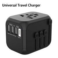 309T Universal Reise Ladegerät Umwandlung Stecker 100-250V 5A Internationale Schnelle Ladegerät 3 USB Ports + Typ-C Adapter
