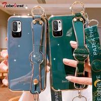 Lanyard Armband Hand Band Überzug Silikon Fall Für Xiaomi Redmi Hinweis 10 10S Pro Max 4G 5G Coque Weiche TPU Abdeckung