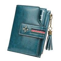 Bifold קצר שמן שעוות כרטיס ארנק נשים אופנה באיכות גבוהה ארנקי אופנתי כרטיס בעל מטבע ארנק גבירותיי בציר עור ארנקים