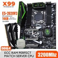 HUANANZHI Intel Xeon E5 2620 V3 X99 F8 Motherboard Set DDR4 LGA2011-3 und 2011 16GB = 8GB * 2 stücke 3200MHz Speicher ECC NVME SATA3
