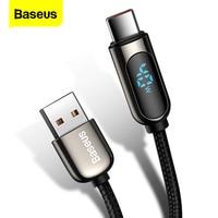 Baseus LED 디스플레이 Xiaomi 10 용 USB 유형 C 케이블 Huawei Samsung 5A 고속 충전 충전기 USBC USB-C 데이터 케이블 유형-C 와이어 코드
