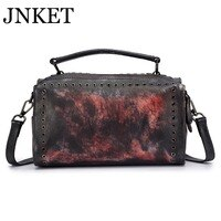 JNKET New Real Cowhide Pillow Bag Soft Leather Crossbody Bag Creative Large Capacity Retro Handbag