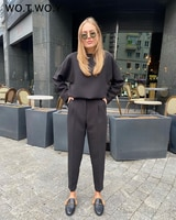 WOTWOY אלגנטי סרוג שתי חתיכה להגדיר נשים אביב כותנה תלבושת משרד ליידי חליפת מכנסיים וחולצות נקבה שחור לבן סוודר סטים