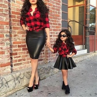2PCS בוטיק אופנה בנות ילדים אדום משובץ ארוך שרוול חולצות חולצה עור PU חצאית קיץ אופנתי קיד בנות תלבושות בגדי סטים