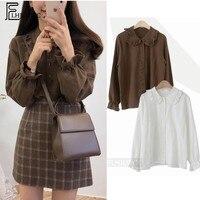 Basic Shirts Blouses Hot Sales 2019 Women Fashion Design Korean Preppy Style Flare Sleeve Peter Pan Collar White Button Shirt