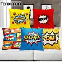 Colorful Cartoon Comics Cushion Cover Letter Print Pow Boom Linen Throw Pillowcase Home Decorative Pillow Covers