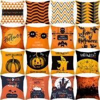 YWZN Halloween Throw Pillow Case Halloween Pumpkin Decorative Pillowcase Halloween Owl Cat Printing Pillow Case kussensloop