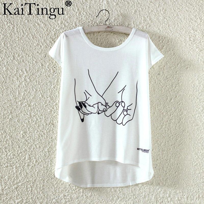 Kaitingu kawaii śliczne t koszula moda lato harajuku wysoki niski styl cat print t-shirt z krótkim rękawem t shirt kobiet topy plus size 26