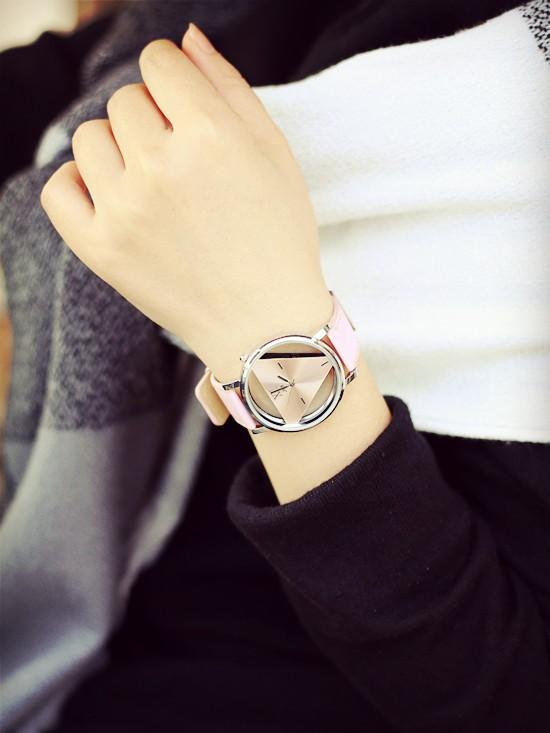 Szkielet zegarek Relogio feminino Trójkąt zegarka kobiet Delikatne przejrzyste pusta skórzany pasek wrist watch quartz dress watch 14