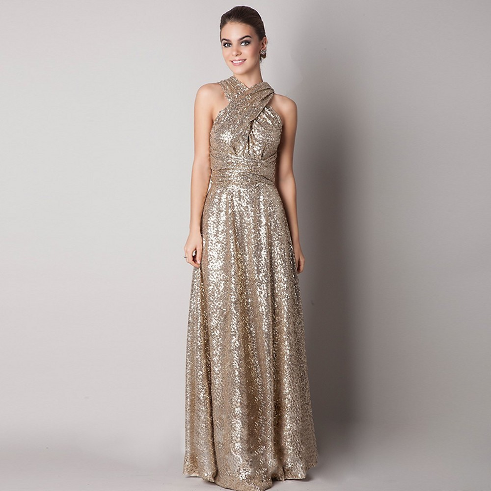 Long Sequined Maid Of Honor Bridesmaid Dress 1