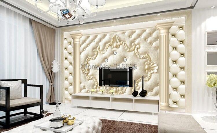 Europejski styl roman kolumna miękkie opakowanie stereoskopowe 3d niestandardowy mural tapety salonie kanapa włókniny tv tło tapety 9