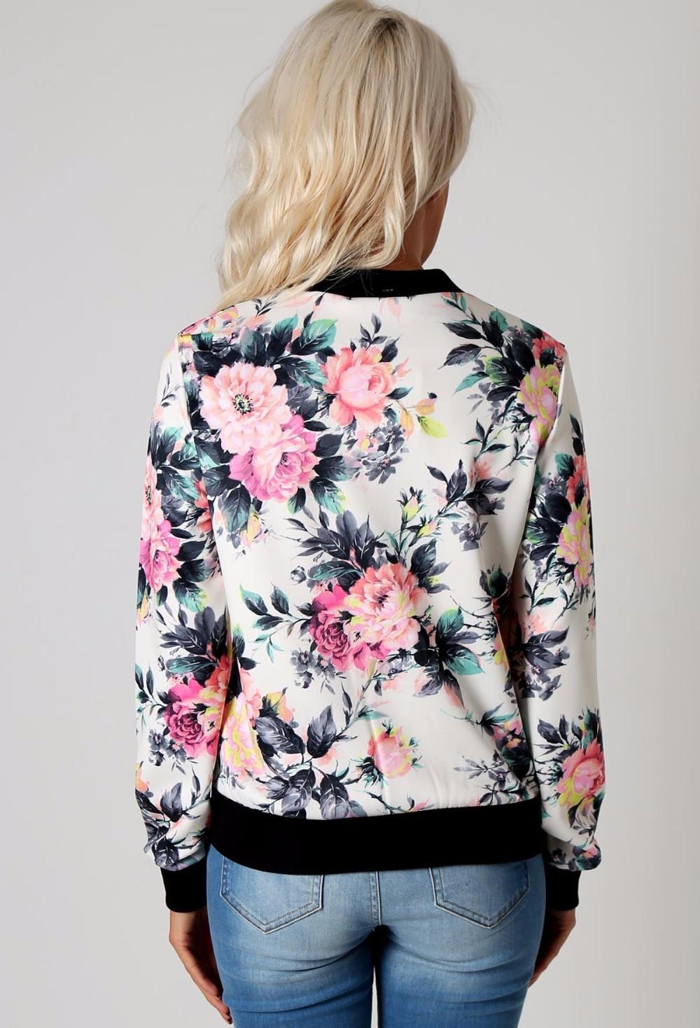 Kwiat Drukuj Kobiety Podstawowe Płaszcze Długim Rękawem Zipper Bomber Jacket Casual Kurtka Płaszcz Jesień Zima Streetwear sukajan 10
