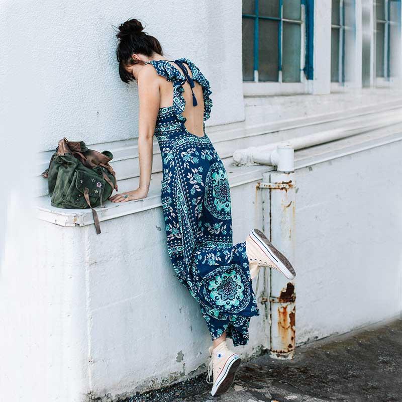 Boho zainspirowany 2017 letnie sukienki kwiatowy print cotton backless długi maxi dress hippie chic ruffles rękawem kobiety sexy vestidos 9