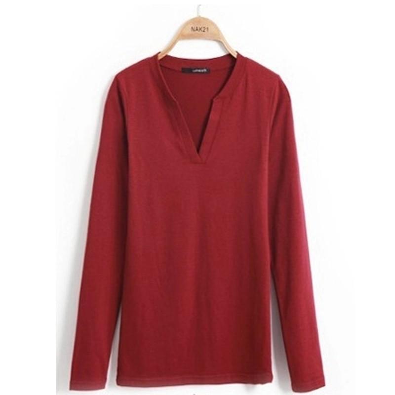 2017 stałe 14 kolory Dekolt Bluzki Sexy Szczupła Dzianiny Długi rękaw chemise femme koreański bluzki dla kobiet koszula clothing góry bluzka 27