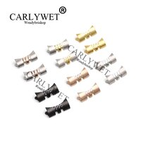 CARLYWET-새로운 스테인레스 스틸 실버 시계 밴드 팔찌, 13 17 19 20 22mm, 중간 광택 곡선 엔드 부품, 2 개 스트랩 롤렉스