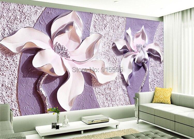 Dostosować dowolny rozmiar 3d relief purple magnolia sypialnia tv tło tapeta wystrój domu salon włókniny mural tapety 9