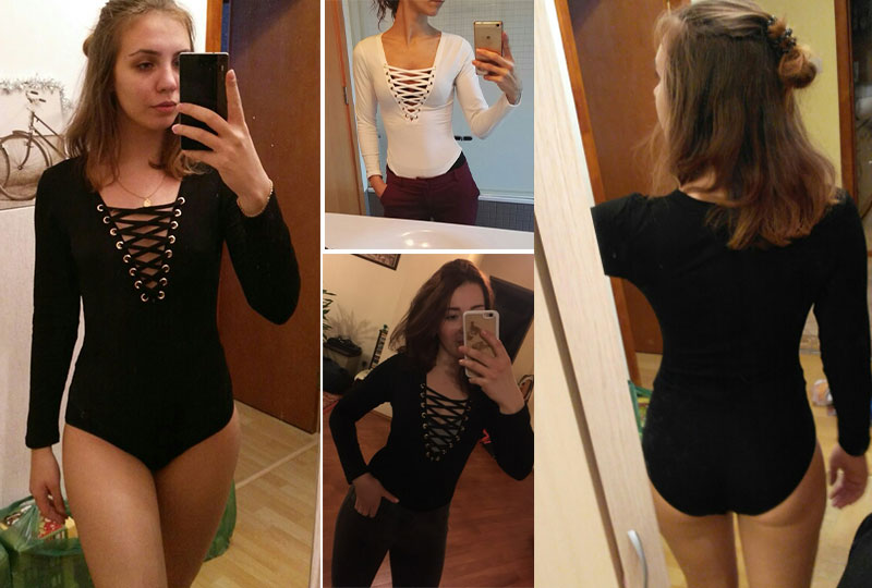 Pikkade varrukatega naiste body