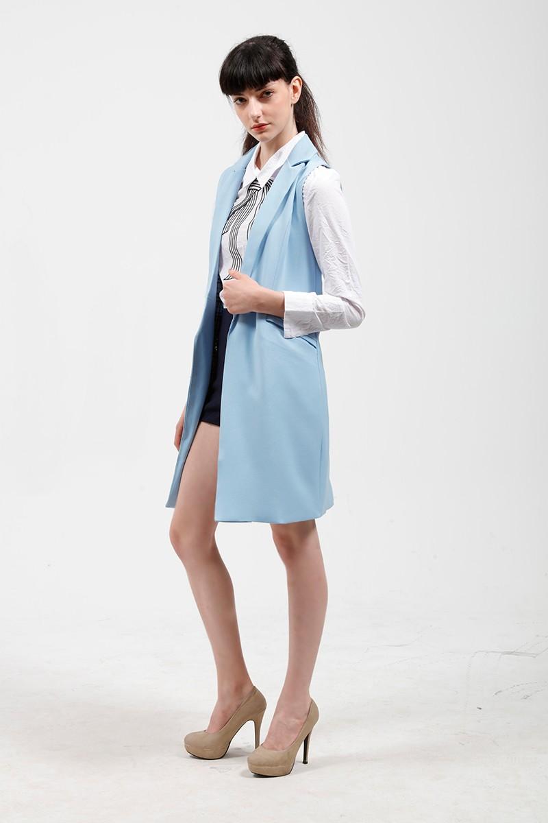 2017 wiosna nowy mody długie kieszenie turn-dół collar otwórz stitch pantone niebieski różowy beżowy czarny żakiet kamizelka bez rękawów kurtki 15
