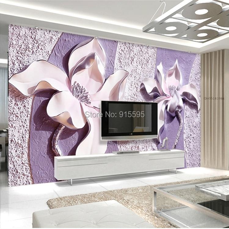 Dostosować dowolny rozmiar 3d relief purple magnolia sypialnia tv tło tapeta wystrój domu salon włókniny mural tapety 8
