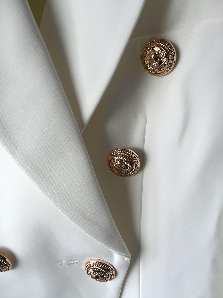 WYSOKA JAKOŚĆ Nowe Mody 2016 Runway Style damskie Złote Guziki Podwójne Piersi Marynarka Odzież Wierzchnia Plus rozmiar S-XXL 4