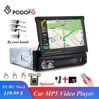 Podofo Versenkbare Autoradio GPS Navigation Bluetooth Stereo FM USB 1din Auto Radio 7
