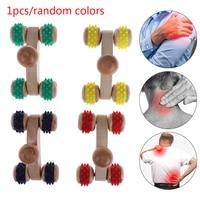 1Pcs 4 Massief Houten Roller Massager Ontspannen Hand Voet Hoofd Body Gezicht Massage Tool Reflexologie Voetmassage Kleur Willekeurige