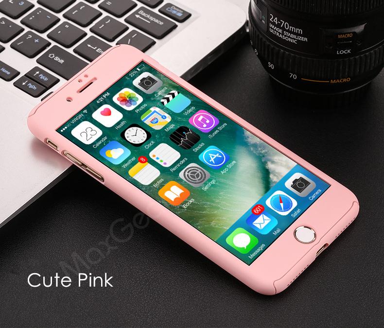 Luksusowe Piano Black 360 Stopni Ciężka PECET Skrzynki Dla Apple iPhone 5 5S SE 6 6 S 7 Plus Szczupła Całe Ciało Pokrywa Capa + Szklany Ekran Protector 19