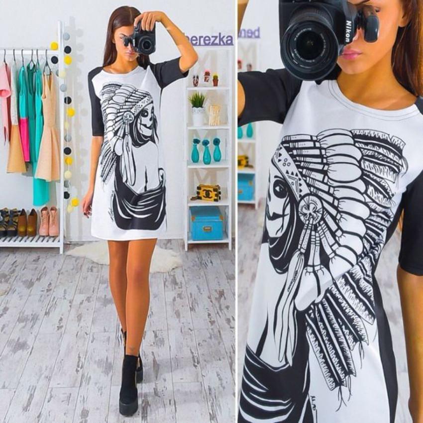 2017 kobiety dress vintage wydrukowano połowa rękawem slim sukienek vestidos panie mini luźne summer dress 5
