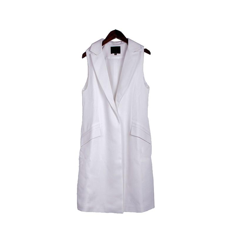 2017 wiosna nowy mody długie kieszenie turn-dół collar otwórz stitch pantone niebieski różowy beżowy czarny żakiet kamizelka bez rękawów kurtki 33