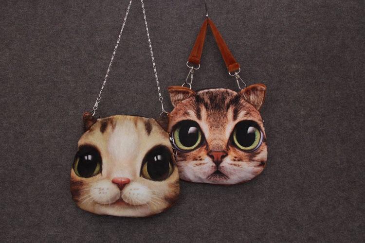 3D kassi ja koera piltidega ümar õlakott