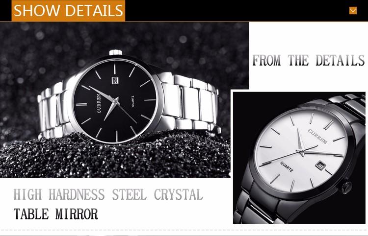 Curren 2016 Najlepsze Marki Biznesmenów Mężczyzna Luksusowy Zegarek Na Co Dzień Pełne stali Kalendarz zegarki Na Rękę zegarki kwarcowe relógio masculino 7