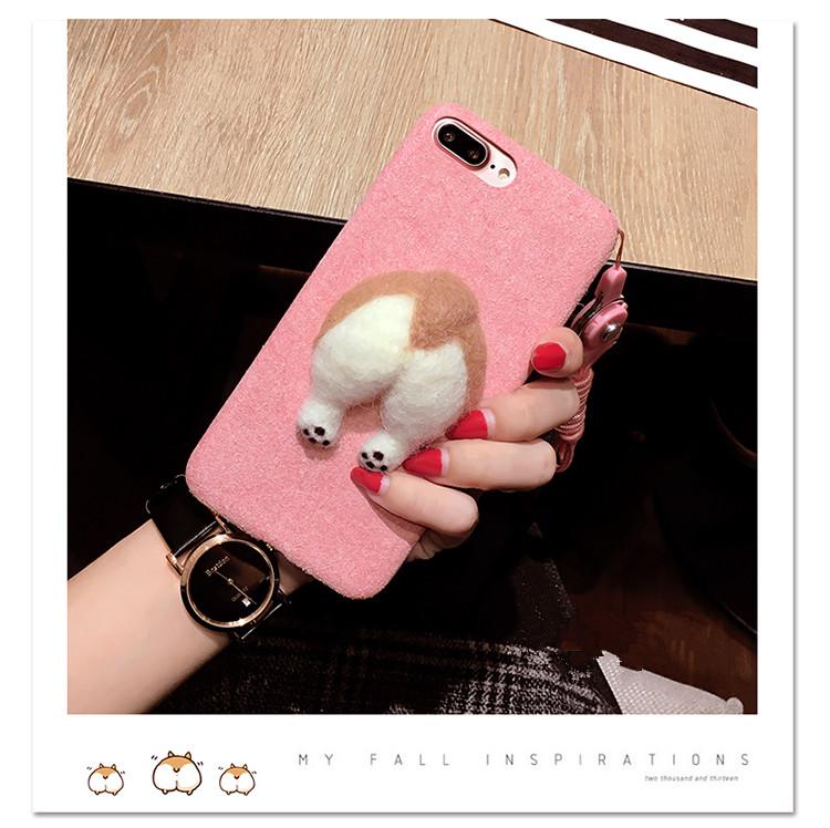 Corgi case handmake igły filcu wełnianego słodkie cat dog tyłek tyłek pokrywa dla apple iphone 6 6s plus iphone 7 7 p miękkie telefon komórkowy case 9