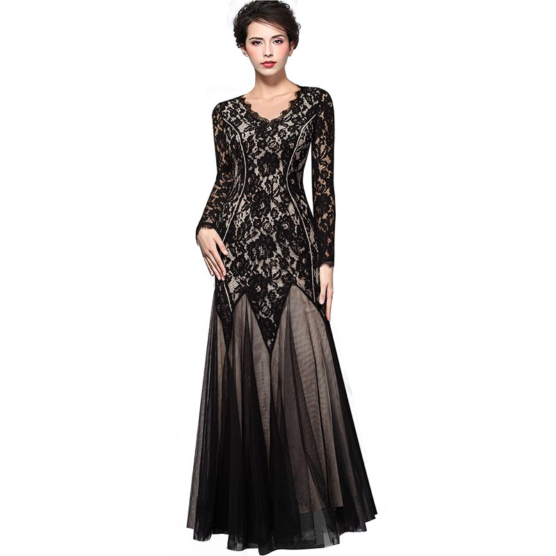 Vintage Floral Lace V-Neck Long Sleeve Bodycon Maxi Long Mermaid Dress 1
