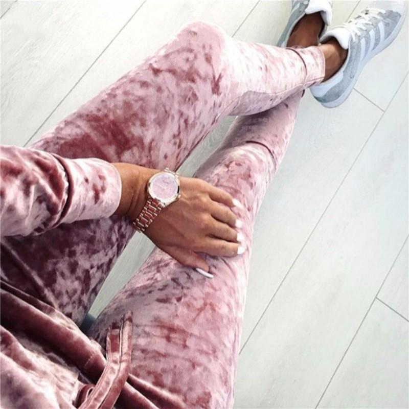 2016 Jesień Zima Moda 2 Sztuka Zestaw Dres Dla Kobiet Spodnie I Dres Sweatsuit Aksamitna 5 Shining Kolory kobiet Garnitur 3
