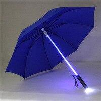 פלסטיק אדום גשם שקוף led מטריית גברים נשים מהבהב על הלילה מחזיק רולר עמיד למים windproof מטריות לטיולים