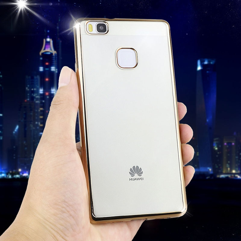 Poszycie telefon skrzynka dla huawei p9 lite pokrywa silikonowa ultra cienkie miękkie przezroczysty tpu tylna pokrywa dla huawei p9 lite luksusowe złota 5